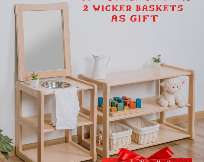 Child Montessori washbasin toddler Waschtisch kind Type A, WITH mirror combined with a MINI shelf
