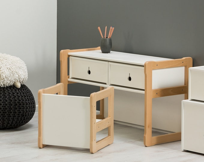 Set of Woodjoy Multifunctional desk, 2 drawers and one chair
