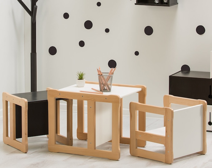 Woodjoy Montessori based  Multifunctional table and 2 chair set, FSC certified solid wood and plywood