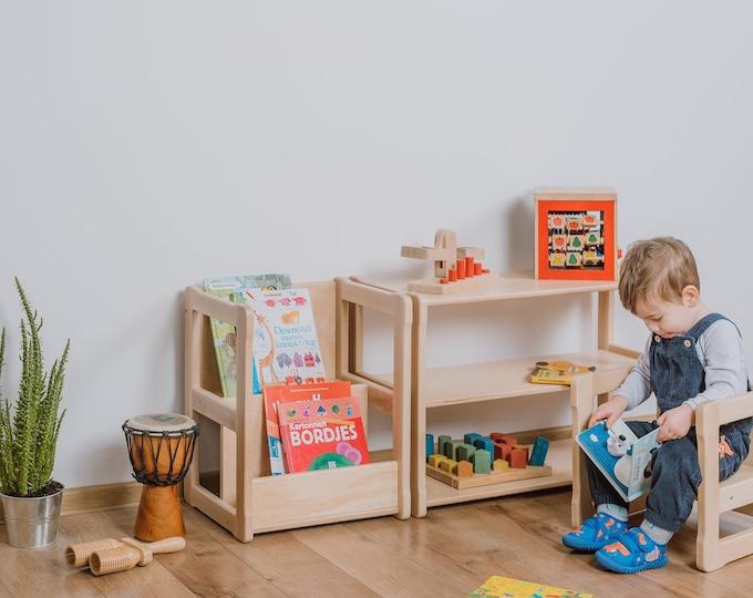 Set of Montessori bookshelf SMALL with  Montessori MINI shelf