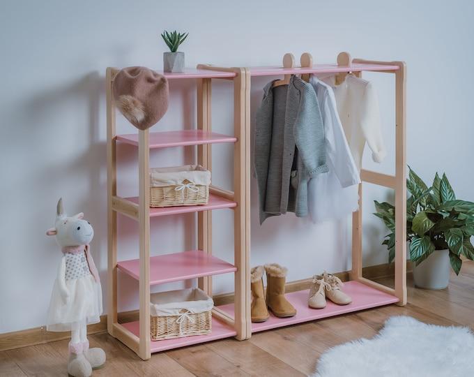 Child Montessori clothing rack type A without shelf with Montessori MAXI shelf  Kid wardrobe