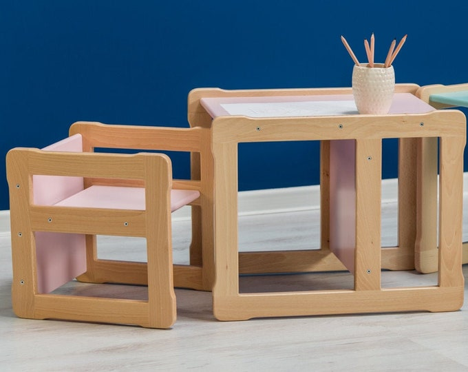 Montessori based Woodjoy Multifunctional table, FSC certified solid wood and plywood