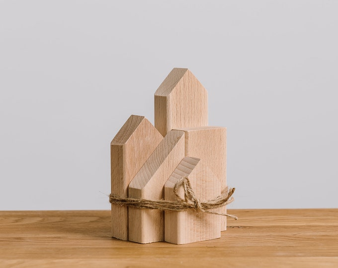 Set of 5 wooden houses solid beech unpainted, natural wood, DIY, wooden toys, wooden decorative houses, wooden supplies