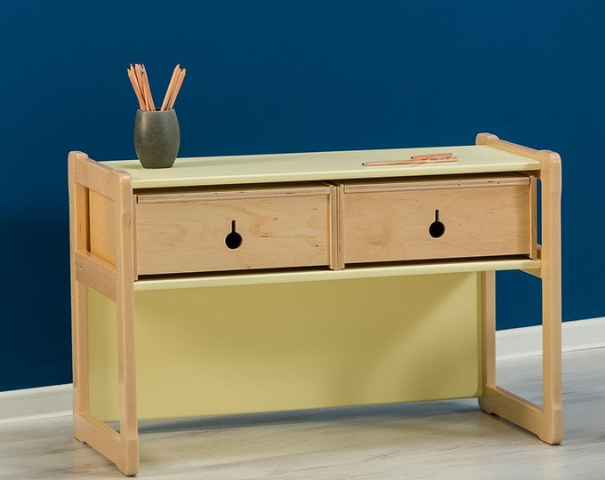 Multifunctional Montessori based desk_bench,with 2 drawers made from certified solid wood and plywood