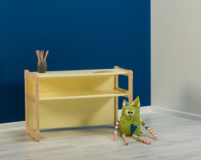 Multifunctional Montessori based desk_bench, certified solid wood and plywood