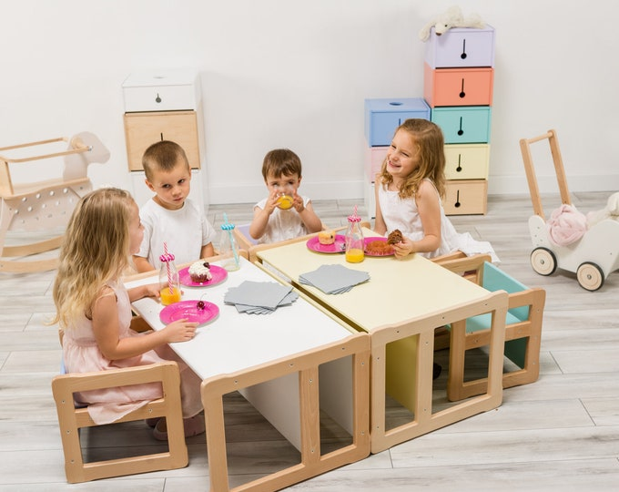 Woodjoy Montessori based set of one Multifunctional big bench with 2 chairs, FSC certified solid wood and plywood