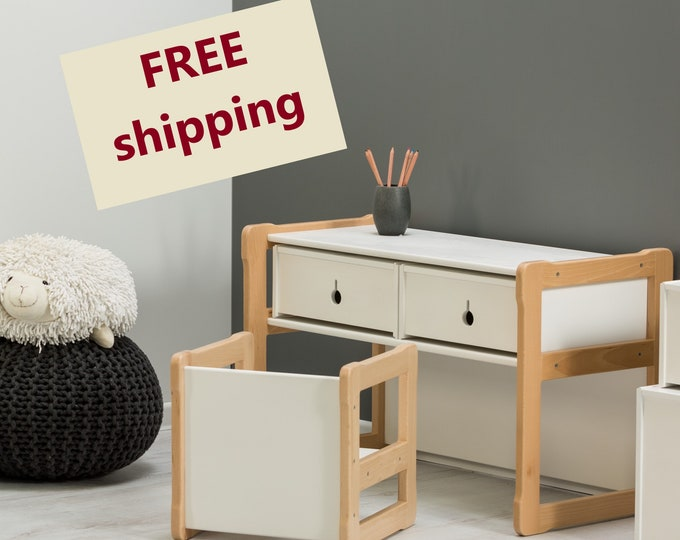 Montessori based Multifunctional desk, 2 drawers and one chair set, certified solid wood and plywood