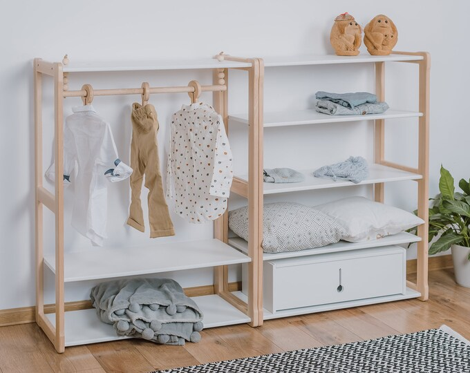 Child Montessori clothing rack type B with shelf combined with Montessori MAXI + shelf Kid wardrobe Kindergarderobe