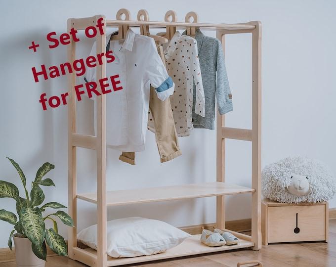 Child Montessori clothing rack type A with shelf Kid wardrobe