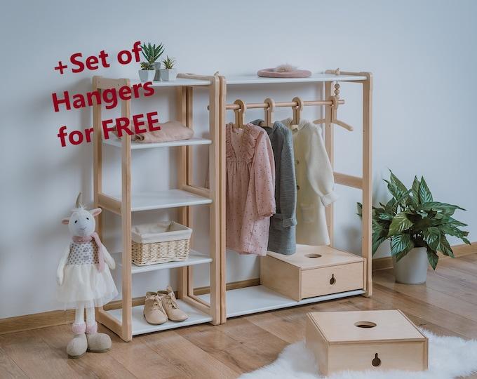 Child Montessori clothing rack type B without shelf combined with Montessori MAXI shelf Kid wardrobe