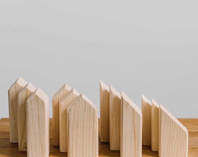 SUMMER SALE Set of 12 wooden houses shapes solid pine unpainted, natural wood, DIY, wooden toys, wooden decorative houses, wooden supplies
