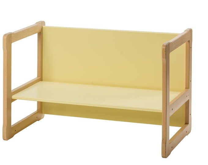 Multifunctional Montessori based desk_bench without shelve, certified solid wood and plywood