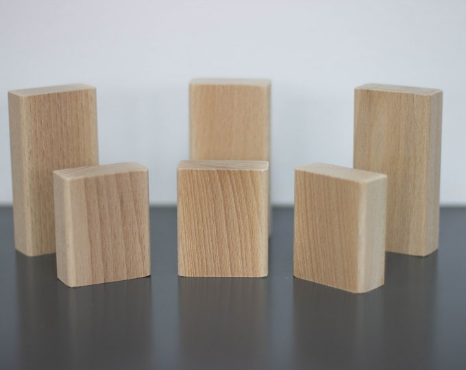 Set of 6 wooden blocks solid beech unpainted, natural wood, DIY, wooden toys, Easter deco, wooden supplies
