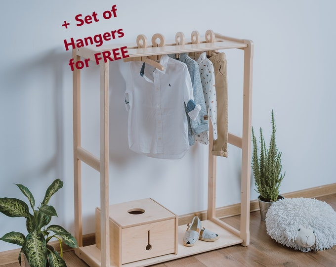 Child Montessori clothing rack type A without shelf Kid wardrobe