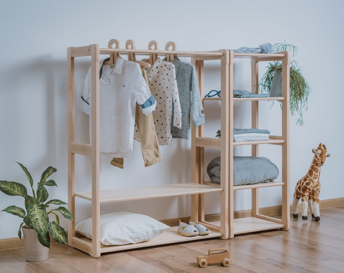 Child Montessori clothing rack type A with shelf combined with Montessori MAXI shelf  Kid wardrobe