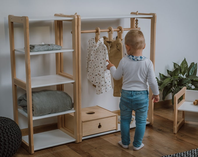 Child Montessori clothing rack type B with shelf combined with Montessori MAXI shelf Kid wardrobe
