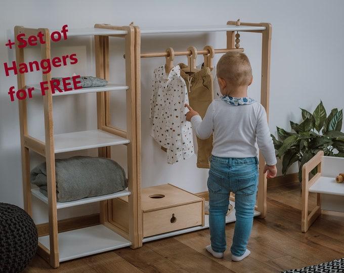 Sale Child Montessori clothing rack type B with shelf combined with Montessori MAXI shelf Kid wardrobe