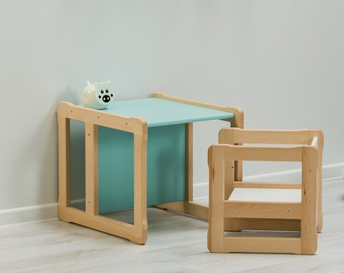 Woodjoy Montessori based Multifunctional table and 1 chair set, FSC certified solid wood and plywood
