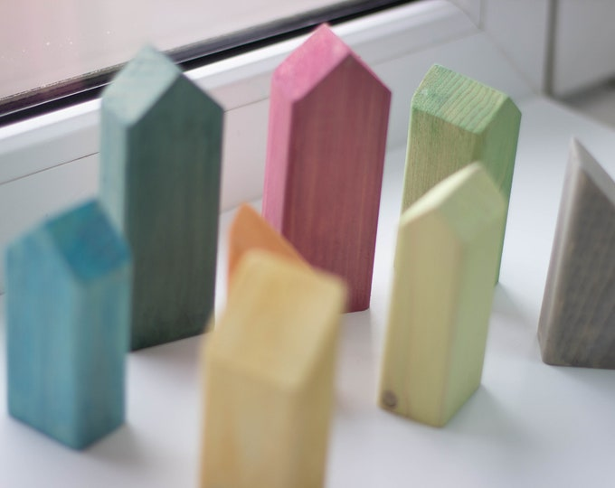 Set of 12 wooden colored houses shapes solid pine, natural wood, wooden toys, wooden decorative houses, wooden supplies