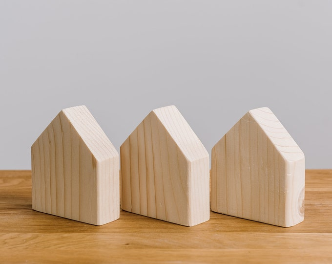 Set of 3 wooden houses solid pine unpainted, natural wood, DIY, wooden toys, wooden decorative houses, wooden supplies