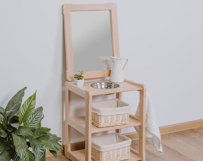Child Montessori washbasin toddler Waschtisch kind Type B, WITH mirror