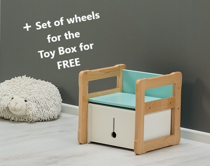 Montessori based Multifunctional chair and small box set, certified solid wood and plywood