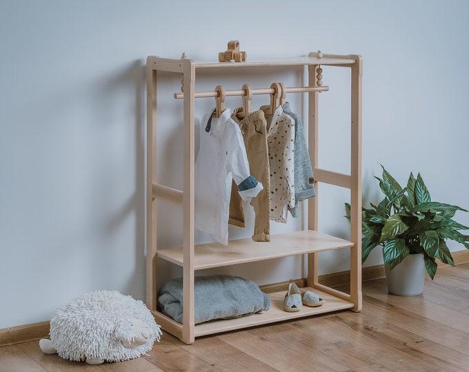 Child Montessori clothing rack type B with shelf Kid wardrobe