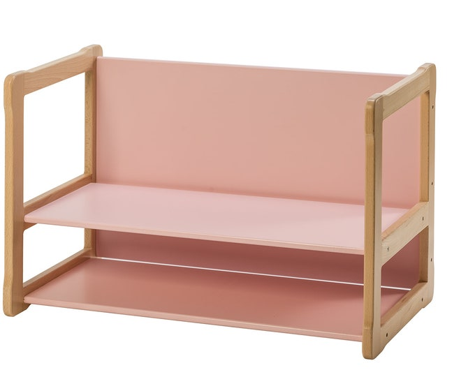 Multifunctional Montessori based bench_desk, with extra shelf certified solid wood and plywood