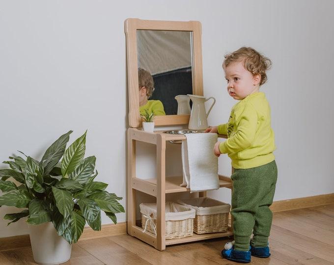 Child Montessori washbasin toddler Waschtisch kind Type A, WITH mirror and extra board