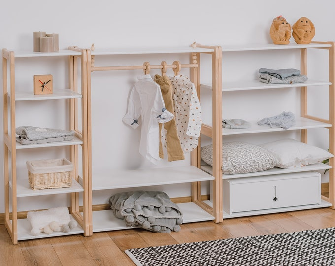 Clothing rack type B with shelf for children combined with 1 MAXI and  1 MAXI + shelf  Kid wardrobe Kindergarderobe Montessori based