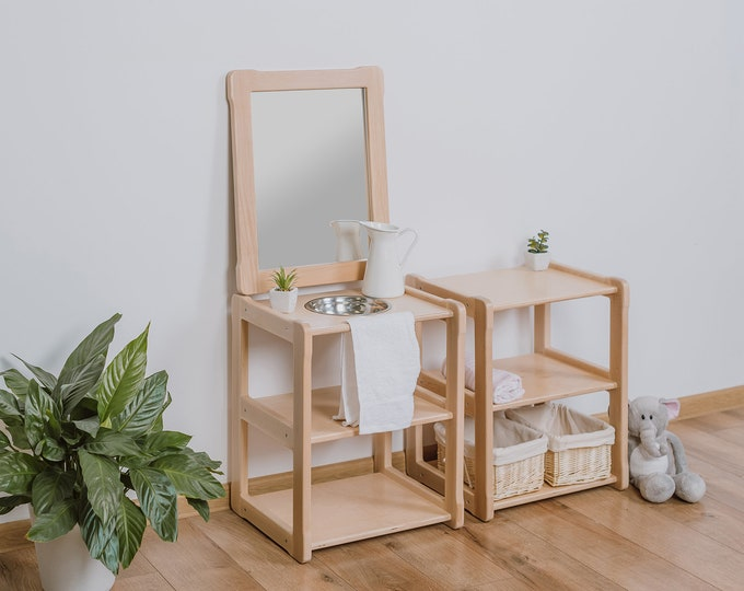 Child Montessori washbasin toddler Waschtisch kind Type A, WITH mirror combined with a SMALL shelf