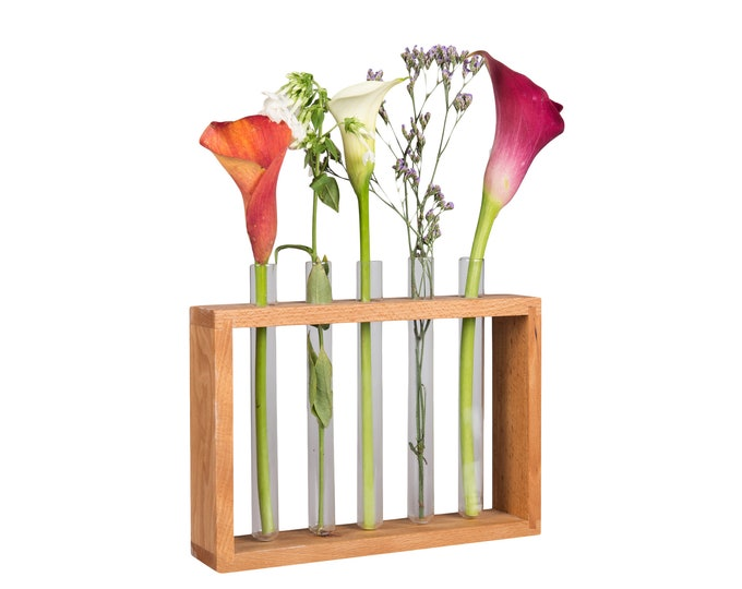 Test tube wood flower stand BIG Home  Decoration Gift