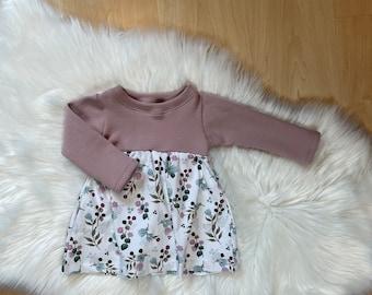 Dress from size 56, pink flowers, flowers, with ajour insert, dress, summer dress, transitional dress, ruffles, tunic