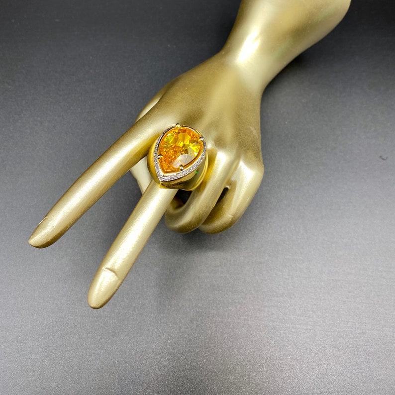 Cocktail Ring Bold Ring Statement Ring Cubic Zirconia Ring Fashion Ring Goldtone Finish Evening Ring