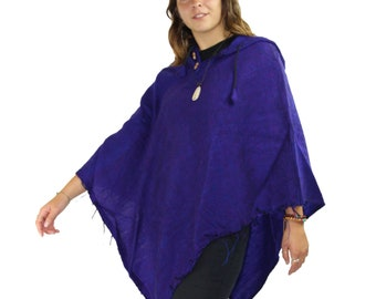 Yak wool poncho - hand made cotton and wool mix poncho - hippie style