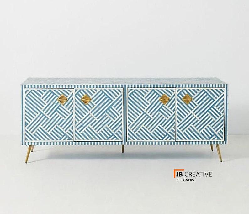 Modern Bone Inlay Cabinet  Bone Inlay Sideboard in Black  Handmade Bone Inlay Cupboard