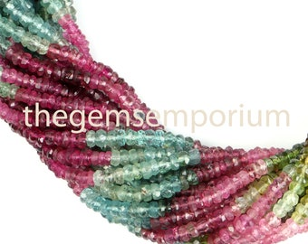 Good Quality 14 Strand #b1455 Multi Tourmaline Faceted Rondelle Beads 2.50 mm