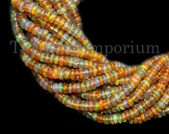 Natural  Ethiopian welo  multi opal smooth 6-3 MM beads necklace fire opal rondelle necklace wello fire opal beads necklace: ot412