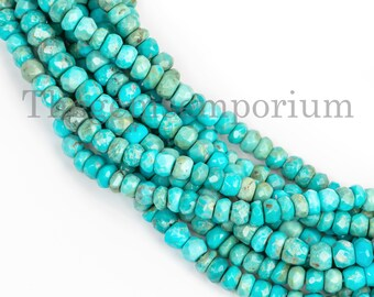 Sleeping Beauty Turquoise Faceted Rondelle Beads, Faceted Beads, Turquoise Beads, Natural Turquoise Rondelle Beads, Rondelle Beads