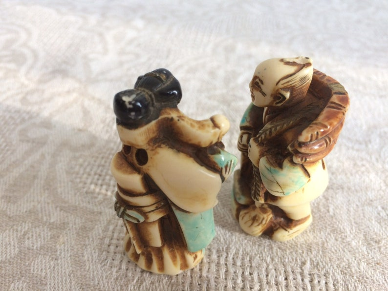 Vintage ChineseJapanese Resin Hand-Carved Statues 1960-1970 s