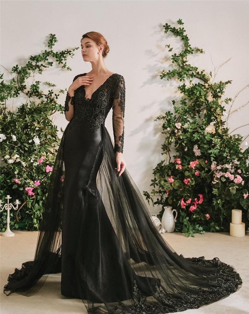 Luxury Black Gothic Alternative Wedding Dress or Evening Gown image 0