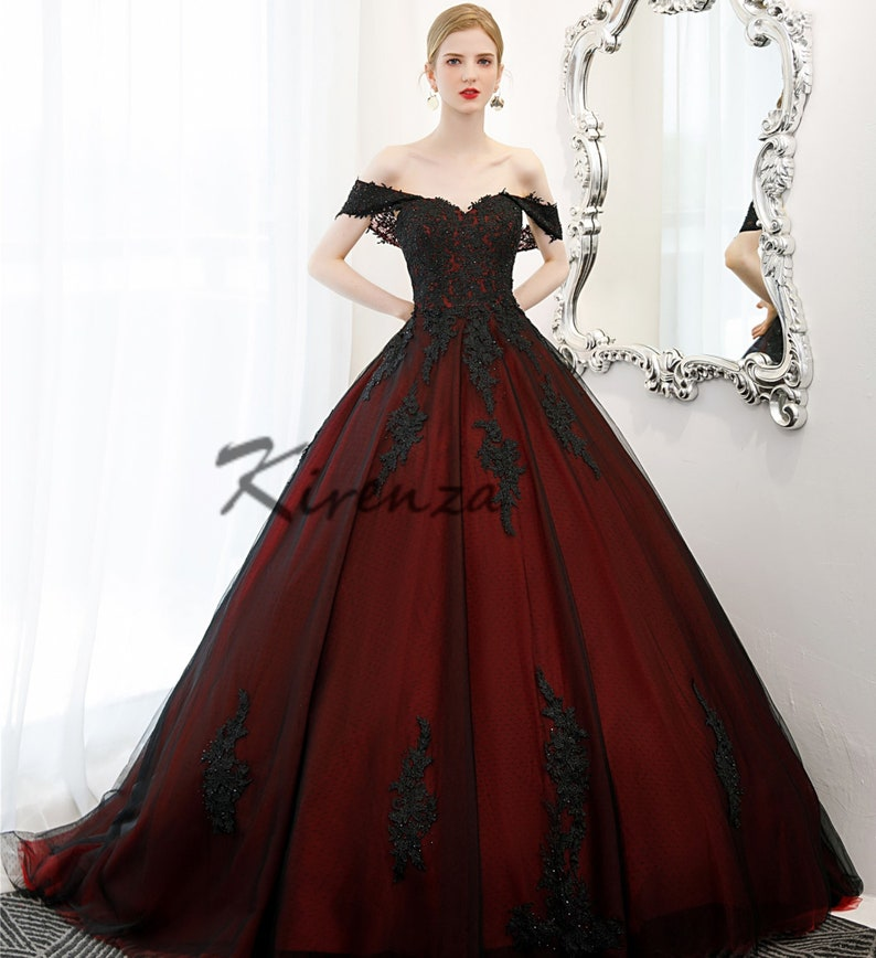 Deluxe Dark Red Burgundy and Black Ball Gown Goth Wedding image 0