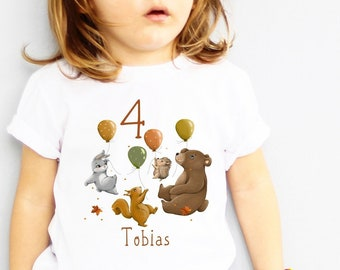Ironing picture forest animals, gift birthday forest motif, children's birthday ironing picture, T-shirt birthday girl boy, forest motif autumn