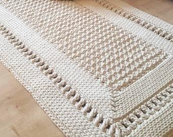 Carpet runner living room angular, cotton carpet, in Scandinavian style, vintage carpet handmade, hallway runner, children's room decoration