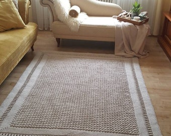 Carpet round living room, children's room decoration, cotton carpet, in Scandinavian style, vintage carpet handmade and sustainable, gift