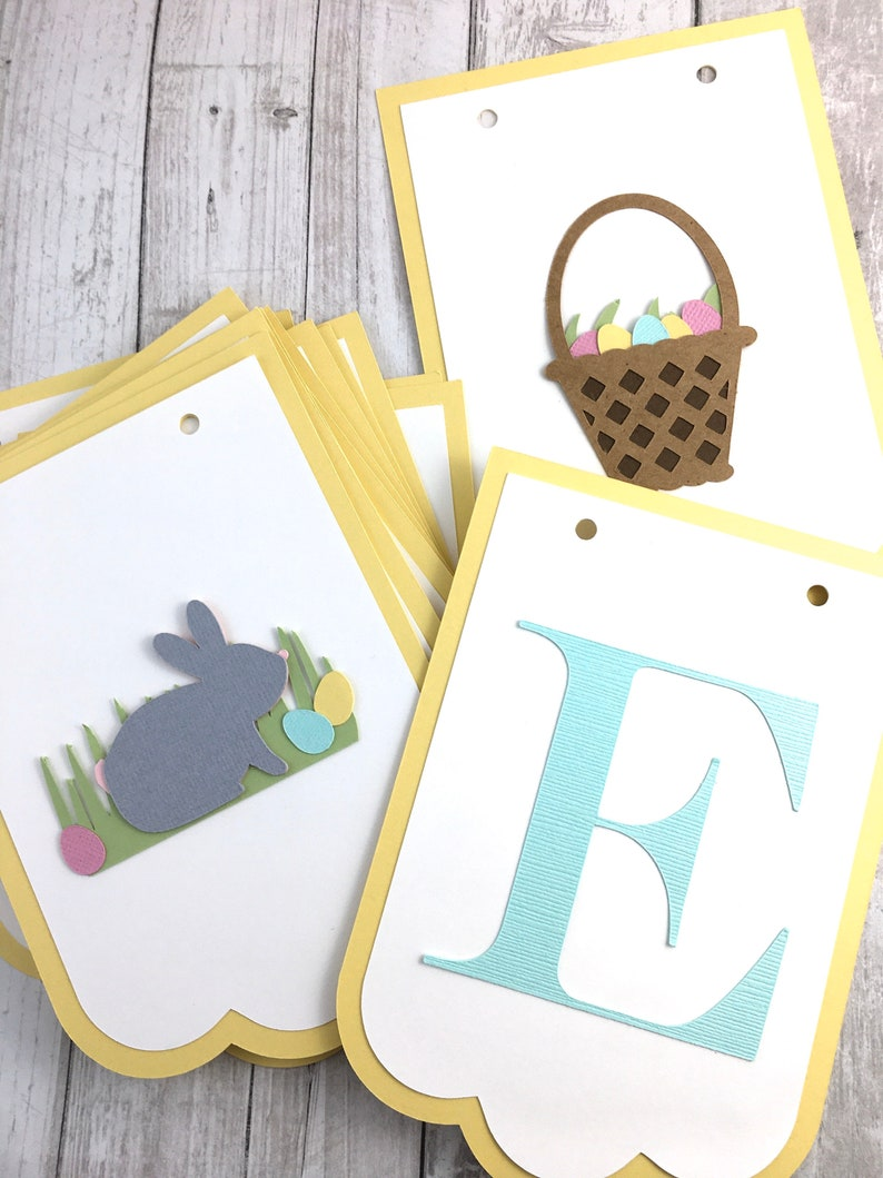 Chick and Egg Basket Banner-Easter Decorations Happy Easter Banner-Bunny