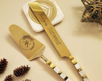 Luxurious Mother of Pearl Wedding Cake Knife and Server Set - Artisan Handmade Dessert Set -  Cake Shovel - Gold Cake Knife Set - Gift Boxed