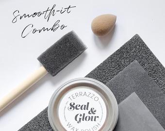 Seal&Glow Terrazzo Wax Polishing Set - Natural Sealer - Perfect for polishing pieces made with jesmonite