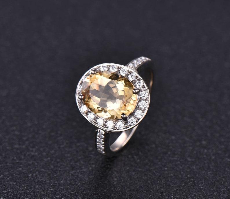White Gold Citrine CZ Diamond Halo Statement Engagement Ring Half Eternity Wedding Band Vintage Yellow Stone Anniversary Ring