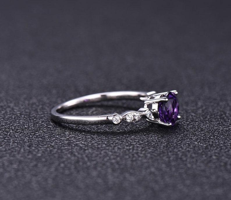 7mm Round Cut Natural Amethyst White Gold Statement Ring CZ Diamond Marquise Milgrain Band Eternity Purple Engagement Wedding Jewelry